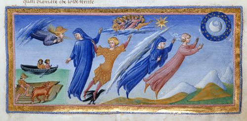 Detail of miniature of Dante and Beatrice visiting the inhabitants of the heaven of the moon, no further info.