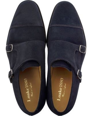 Loake 1880 Cannon Monkstrap Navy Suede