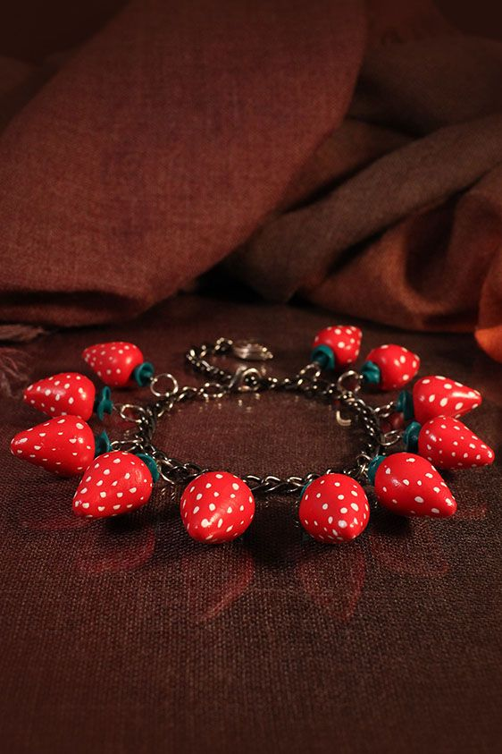 Polymer clay strawberry bracelet by Lorien (totally unique handmade accessories)