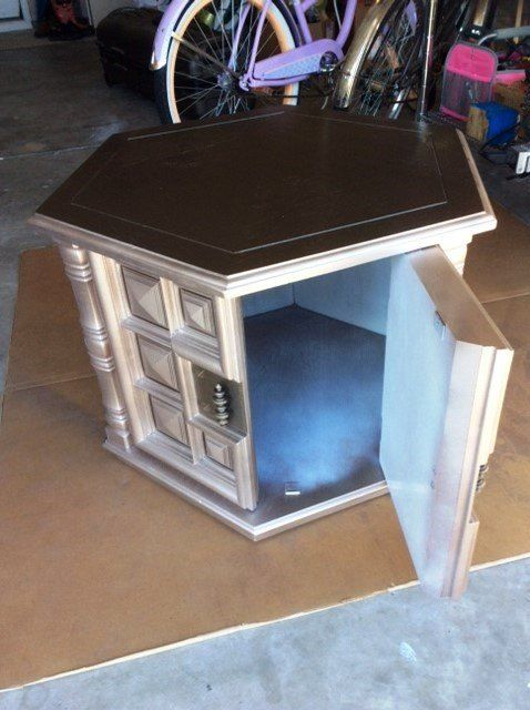 1960s Octagon End Table Makeover- Pet Bed in Process