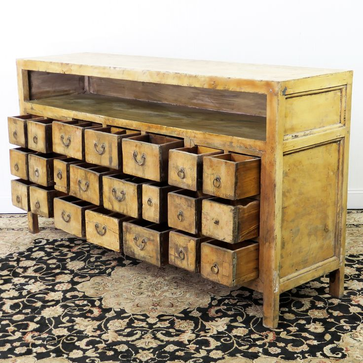 """Antique Chinese Apothecary Medicine Herb Cabinet , 22 Drawer Region: Shanxi Approx Age: 150 Wood: Poplar Approx. Dimensions: 72"""" wide, 19"""" Deep, 39"""" Tall SKU # RY-3753"""