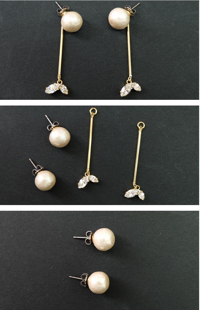 Jewel Casket Long Cotton Pierced Pearls with 2 Swarovski Earrings