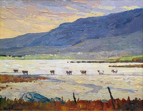 "Alex McKenna, ""Cattle Crossing, Achill"" #art #cattle #cows #landscape #mountains #Achill #painting #DukeStreetGallery"