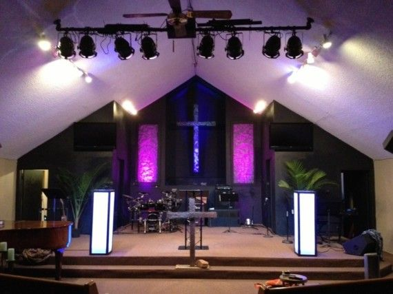 church lighting ideas. traditional church given modern look by painting back wall black and adding a few lighting elements ideas e