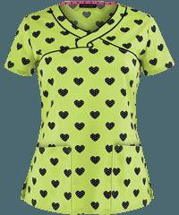 Heartsoul Dot Of Love Lime Junior Fit Print Scrub Top