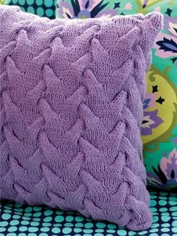"""Sculpture Pillow By Amy Butler - Free Knitted Pattern - Click On """"Free Download"""" Below Pillow Photo For PDF Pattern - (wolleunddesign)"""