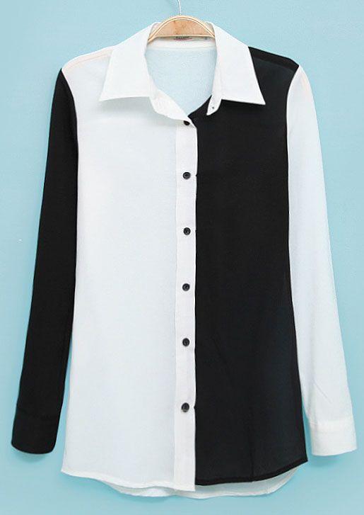 Black Contrast White Lapel Long Sleeve Chiffon Blouse US$21.97