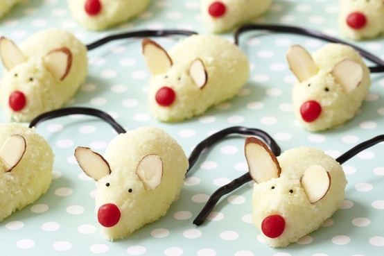 """Adorable Christmas Mice Cookies — """"'Twas the night before Christmas, when all through the house/Not a creature was stirring, not even a mouse ... """" — These macaroon-like cookies are easy to make, and kids will have fun helping to decorate them."""