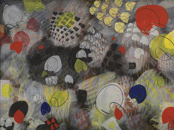 Tancredi Parmeggiani, Ricordo di Raoul, 1953, Acrilico, pastello e tempera su carta applicata su masonite, 150 x 102 cm, Museo del Novecento, Milano