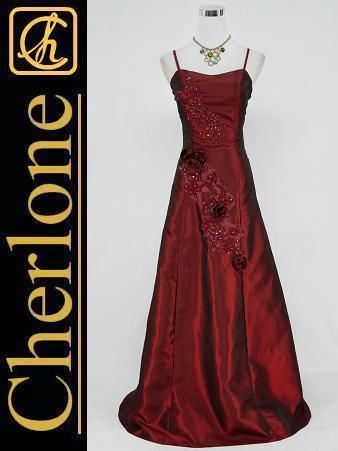 Cherlone Plus Size Satin Burgundy Long Ball Gown Wedding/Evening Dress UK 22-24