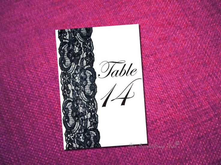 PRINTABLE Black Lace Menu - Customize Color, Text - DIY Wedding Table Settings Decor Place Cards Table Numbers Modern Chic Vintage Classic. $25,75, via Etsy.