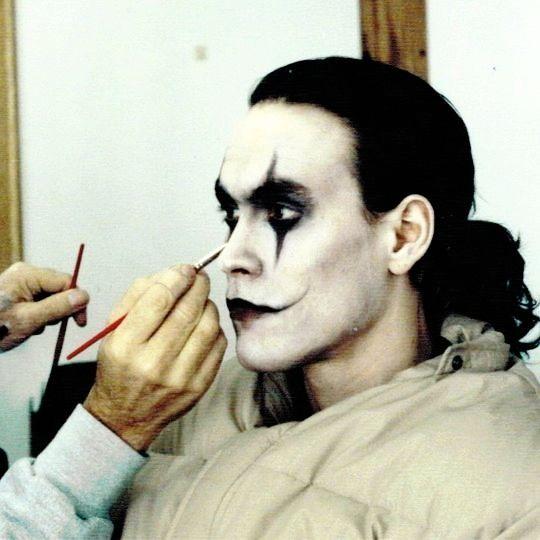 """vintagesalt: """"Brandon Lee in make up for The Crow (dir. Alex Proyas, 1994) """""""