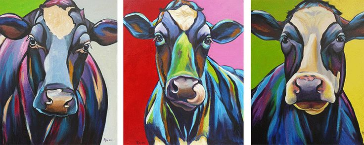 Schilderijen - Koeien, honden, portretten en meer bij Riacreatief