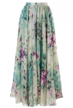 Floral and Frill Maxi Skirt - Retro, Indie and Unique Fashion
