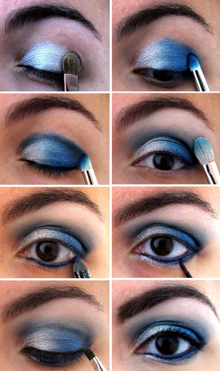silver and blue eyes makeup tutorial