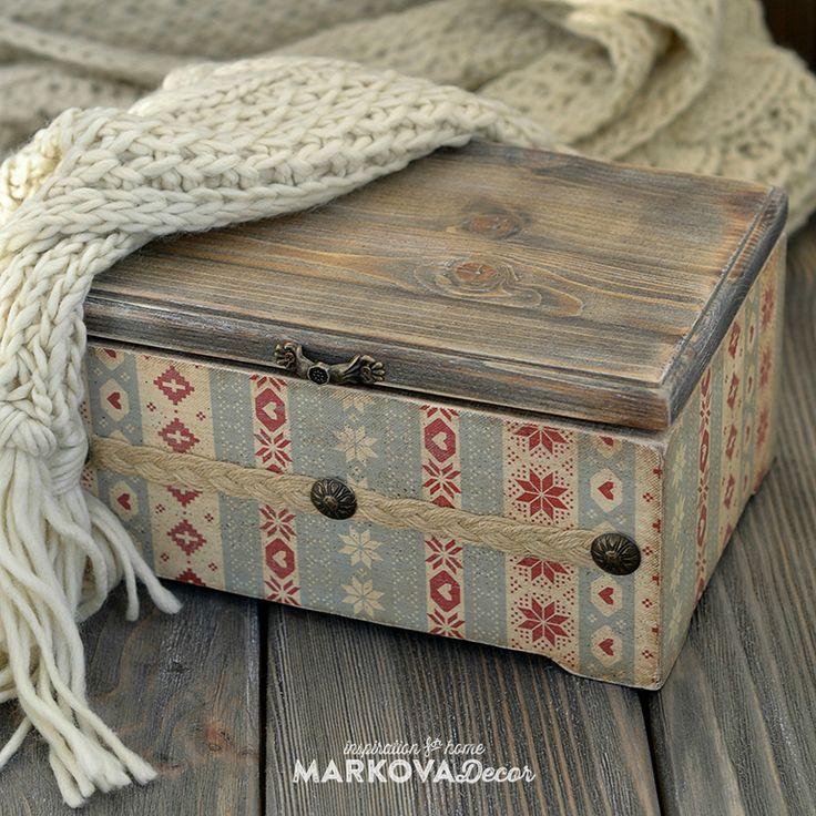 Купить шкатулка Нордик - голубой, коричневый, ольга маркова декупаж, подарок ручной работы