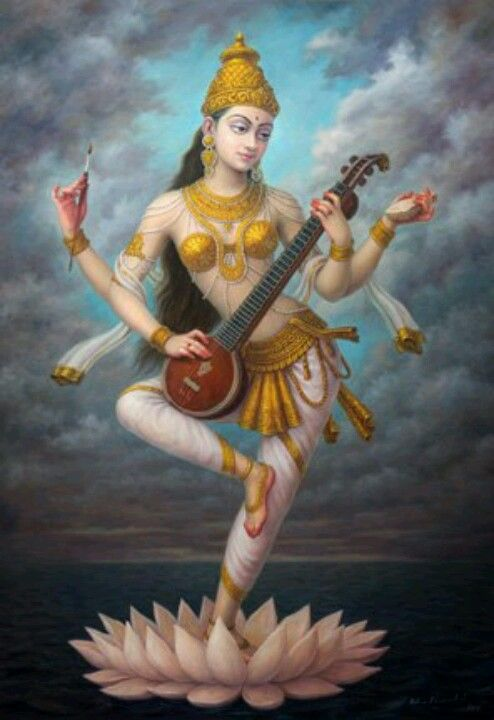 Saraswati , the Goddess of Purity, Creativity, Art, Music, and Intellectual growth.