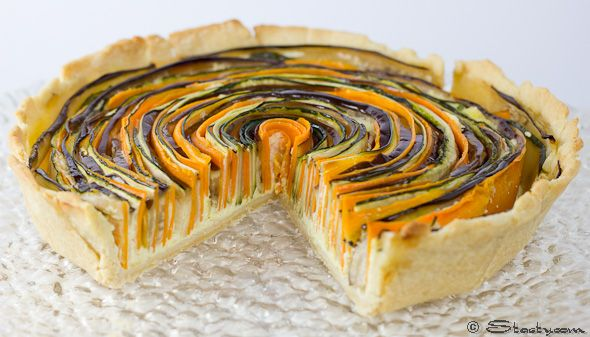 stunning vegetable tart presentation! - it'd be a lot of work, but it sure is pretty - suggestion of adding goat cheese and beets to it