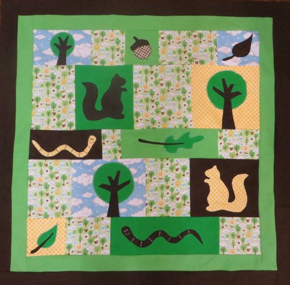 Forest woodland critter baby blanket. Trees, squirrels - perfect for environment or nature nursery.