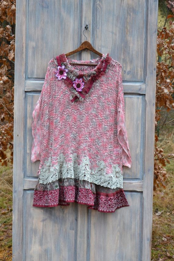 Romantic women dress L XL XXL romantic simplicity slow fashion upcycled clothing wearable art recycled clothing altered clothing