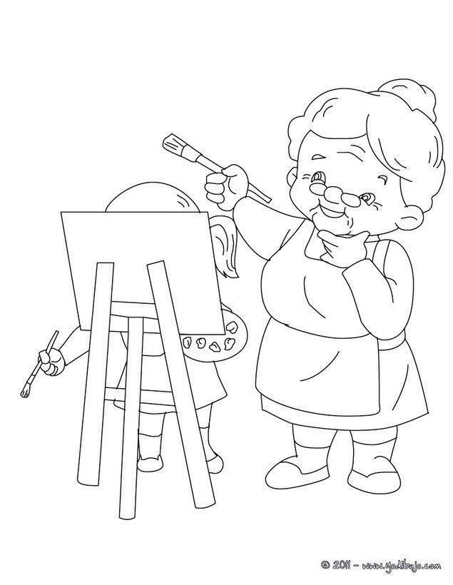 dibujos para colorear abuela pintora es hellokids | News to Go 2 ...