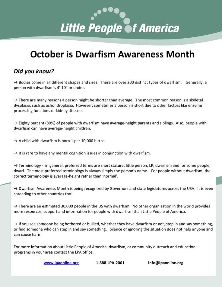 October is Dwarfism Awareness Month