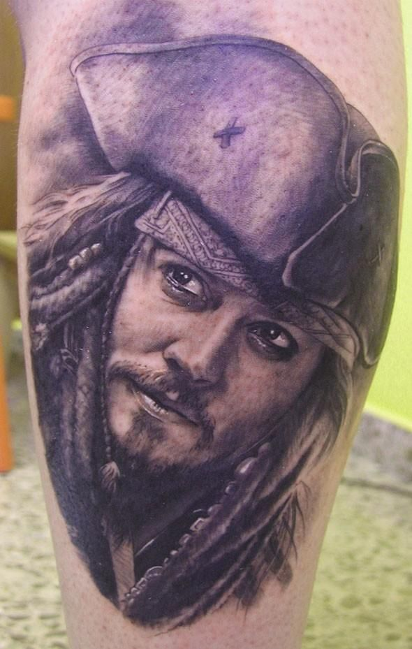 Incredible Jack Sparrow portrait Tattoo by Xavier Garcia Boix. Amazing!! I've seen a LOT of this tat done by others and this is the only one I've seen to get it all right.