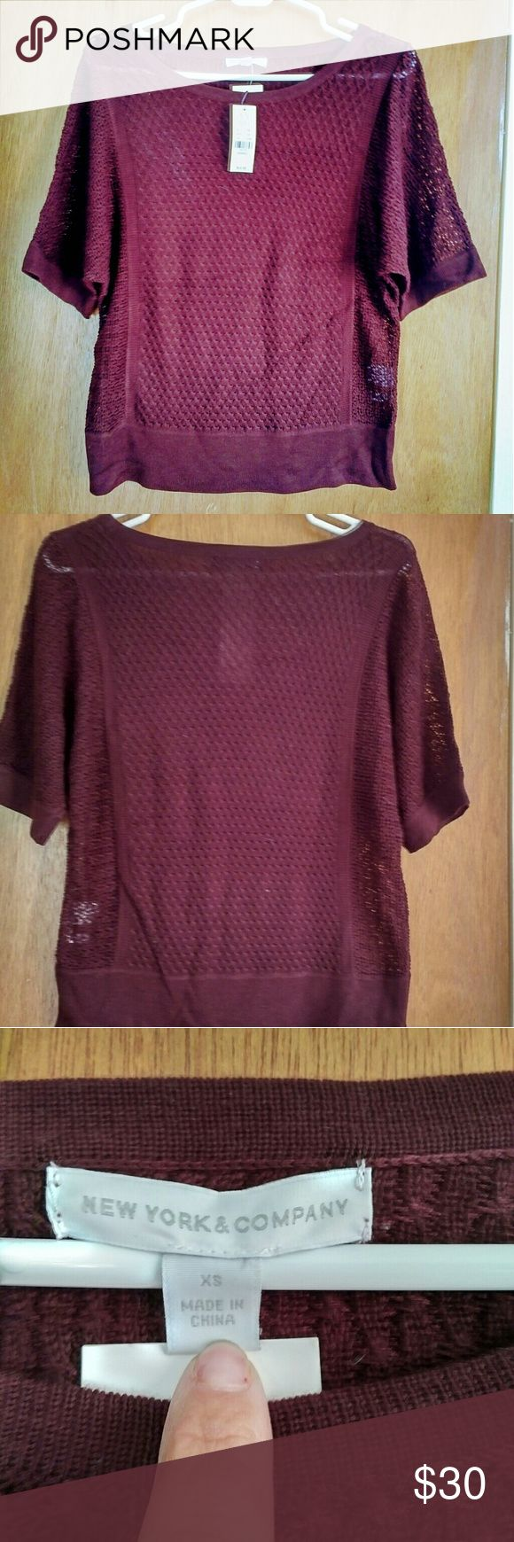 NWT NY&CO MAROON CROCHETED SHORT SLEEVE TOP NWT NY&CO, DEEP MAROON, CROCHETED, SHORT SLEEVE TOP, SIZE XS (could EASILY fit size small or a small medium!). BRAND NEW, NEVER WORN! Top is crocheted, but not sheer enough that a camisole is necessary. Would be up to personal preference. Shirt is NOT see thru. PERFECT CONDITION!   Open to REASONABLE OFFERS ONLY!!! No trades. New York & Company Tops