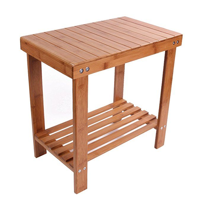 Utoplike Bamboo Bathtub Shower Seat Bench Stool With Storage Shelf And Non Slip Feet Indoor And Outdoor Bench Large Shower Seat
