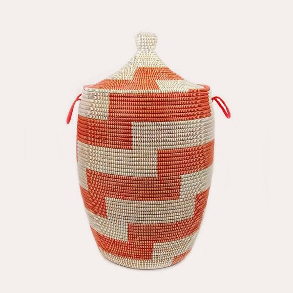 Jungalow Red Stripe Large Hamper Basket from The Jungalow