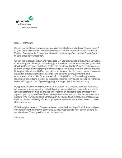 Cookie Booth Request Letter - Girl Scouts of Eastern Pennsylvania http://www.yumpu.com/fr/document/view/22108463/cookie-booth-request-letter-girl-scouts-of-eastern-pennsylvania