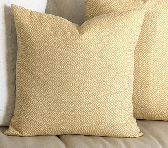 Boho Goldenrod Yellow and Cream Pillow Cover, Bright and Bold! Cotton Canvas Designer Print.   Back is a soft, neutral canvas with an envelope closure and ties  Pillow Cover only, insert is not included. For a soft pillow use same size insert, for a firm pillow go one to two sizes up.  All edges are finished/serged and pillow is double stitched for strength.  Dry clean or spot clean with damp clean cloth and mild soap.  Look at the details and pictures carefully. We do not do returns or ...