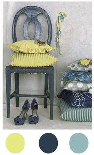 Living room color palette or bedroom for those who love blue.
