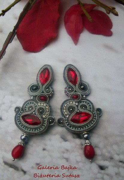 "Kolczyki sutasz (soutache)  ""Red Leaves"" w Galeria Bajka Soutache Jewelry na DaWanda.com"