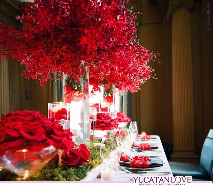 Decoración para boda en color rojo intenso red Wedding decor YUCATANLOVE