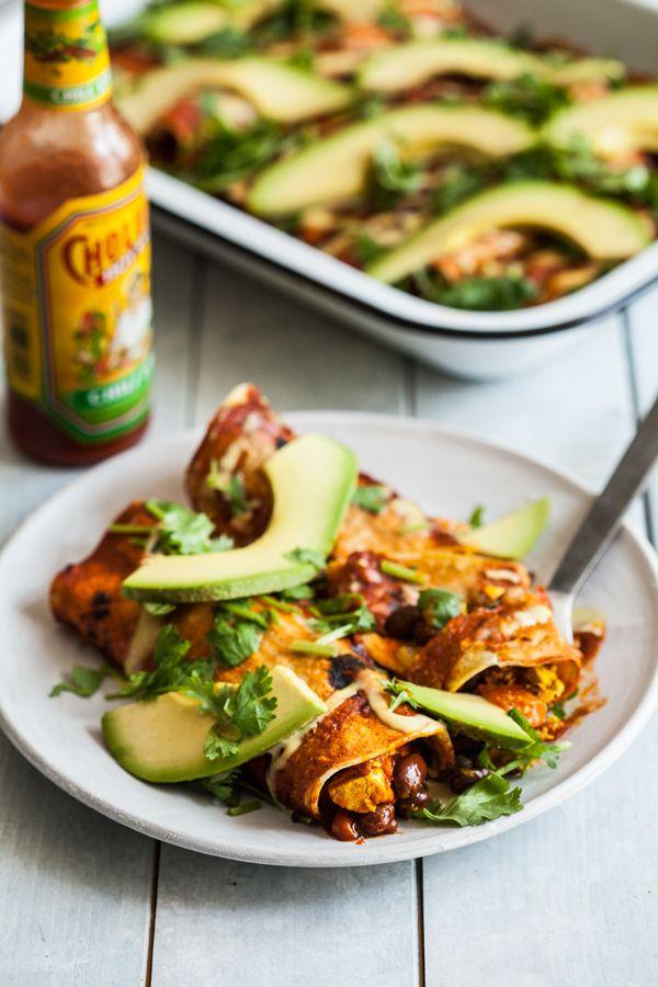 Tofu Scramble Black Bean Vegan Breakfast Enchiladas #vegan #glutenfree | The Full Helping