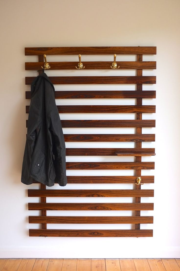 large danish modern wall mounted coat rack c1960 rosewood slats satin brass
