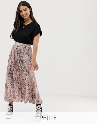 2da5f6fda0 New Look Petite satin pleated midi skirt in pink animal print in ...