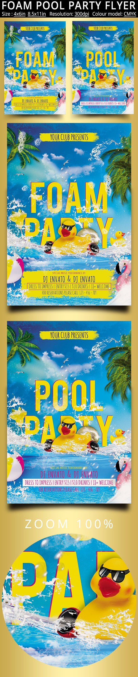 Foam Pool Party Flyer by oloreon on @creativemarket foam, party, beach, summer, spring, flyer, poster, club, sexy, foam party, tropical, sun, modern, festival, water, template, beer, vip, music, pool, spring break, alcohol, glass, beach party, drink, cocktail, holiday, event, pool party, summer party