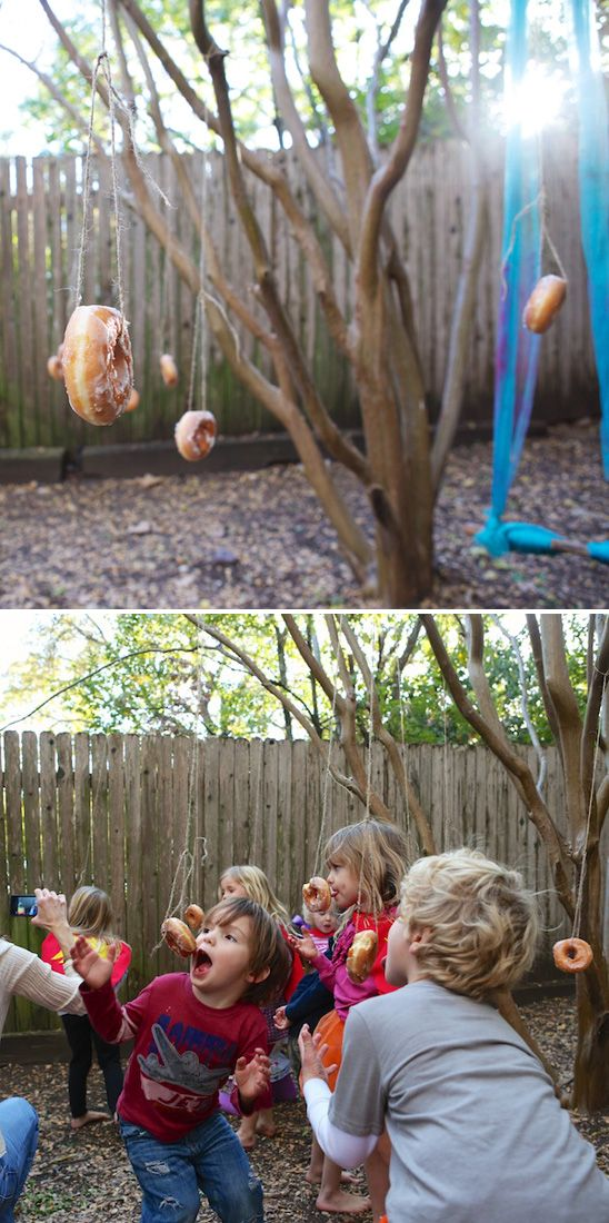 Love the idea of having kids eat doughnuts sans hands for a fun snack / activity! From OnToBaby.