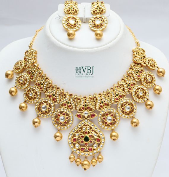 Jewellery Designs: Kundan Set in Peacocks and Stars