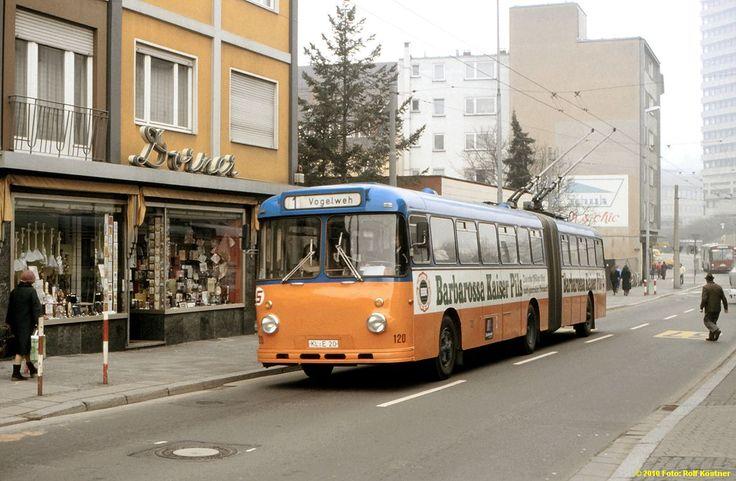 Büssing/Emmelmann/SSW (1963) electric bus no. 120 in Kaiserslautern, Germany, formerly operated in Gießen, Germany, photo by Rolf Köstner