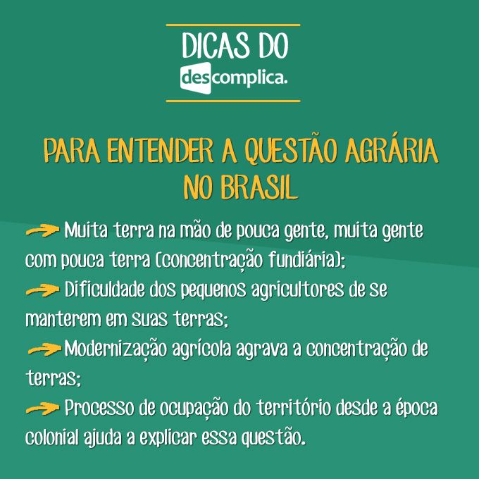 Dicas sobre a Questão Agrária no Brasil! Clique na imagem para assistir à aula em vídeo sobre o assunto.