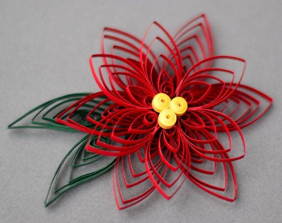 Handmade Poinsettia Flower Quilled Christmas di TheQuillery