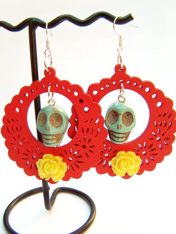 Day of the Dead Skull Earrings - Consuela - Frida Kahlo Inspired - Red Wood Filigree with Turquoise  Yellow