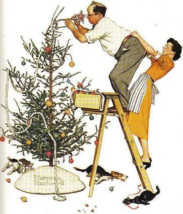 """Norman Rockwell painted a couple trimming the Christmas tree...« Savoring Simplicity...""""I showed the America I knew and observed to others who might not have noticed.""""   — Norman Rockwell"""