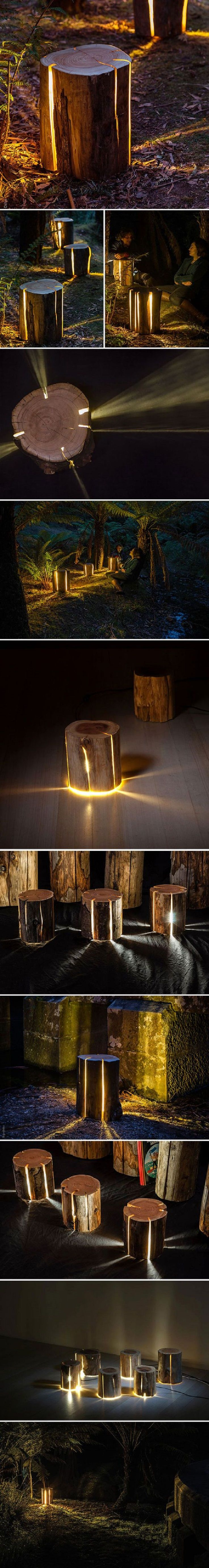 Cracked Logs Which are Bursting with Light - 9 Hyper-Creative DIY Outdoor Lighting Ideas For Your Backyard