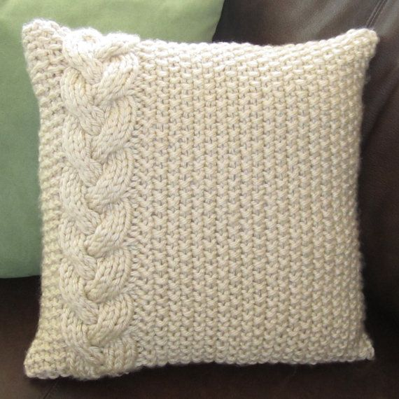 Braided Cable chunky hand knit 16 x 16 pillow cover pattern
