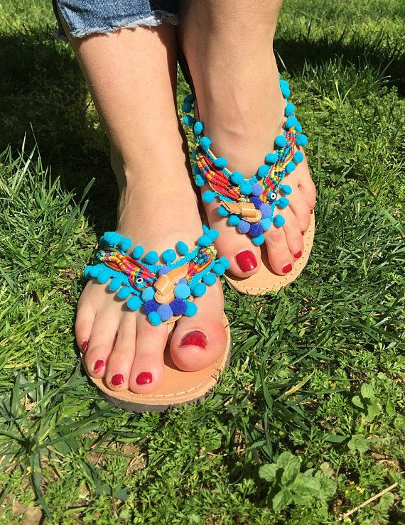 Greek Sandals Made in Greece Leather Sandals Pom pom