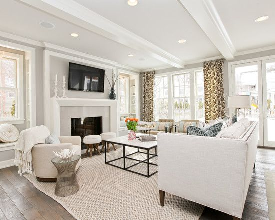 Gray And White Transitional Rustic Living Room With: A Light Grey And White Transitional Living Room With White
